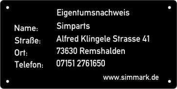 10er Set feuerfeste Kennzeichnungsschilder aus Aluminium für Flugmodelle 50mm x 25mm