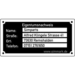 10er Set feuerfeste Kennzeichnungsschilder aus Aluminium in Typenschildoptik für Flugmodelle 50mm x 25mm
