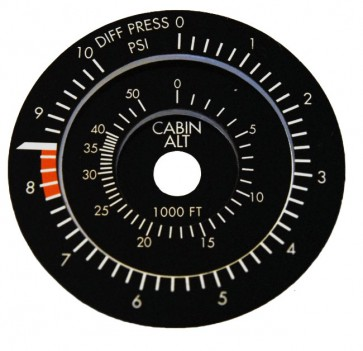 Faceplate 75mm Cabin Altitude Instrument