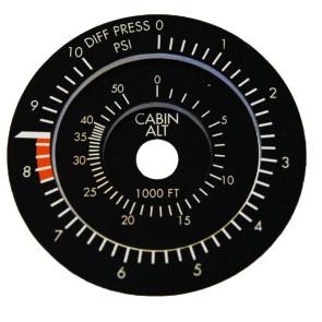 Faceplate 75mm Cabin Altitude Instrument