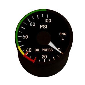 "2"" / 49mm left engine oil pressure Indicator"