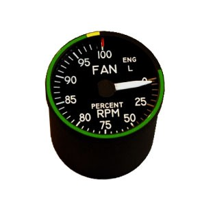 "2"" / 49mm left engine Fan RPM Indicator"