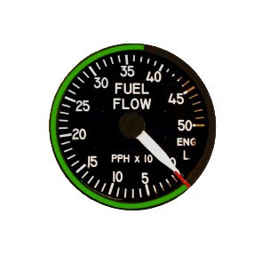 "2"" / 49mm left engine fuel flow Indicator"